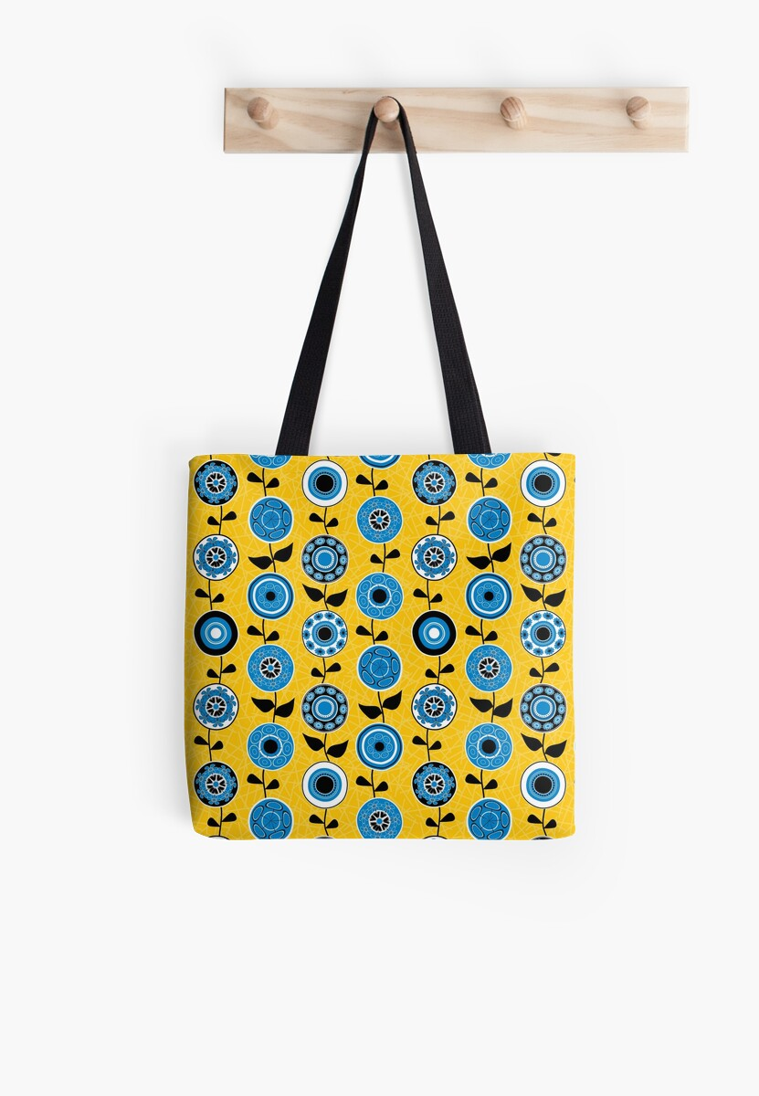 Mid Century Modern Flowers In Yellow And Blue Tote Bags By Elsys