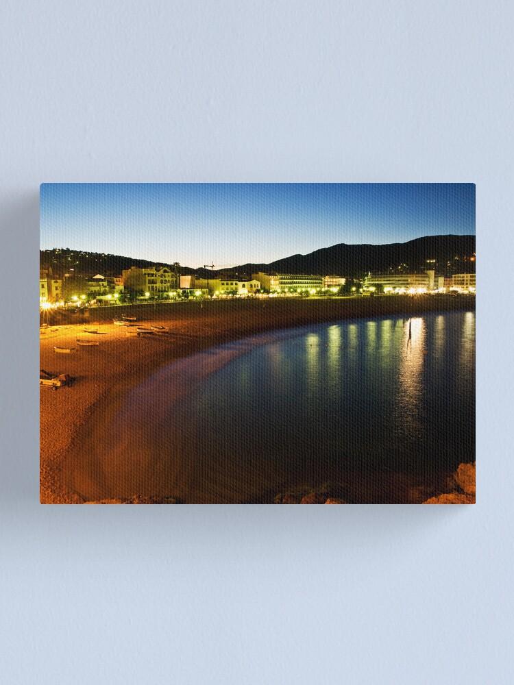 Alternate view of Tossa Beach at Night - Spain Canvas Print