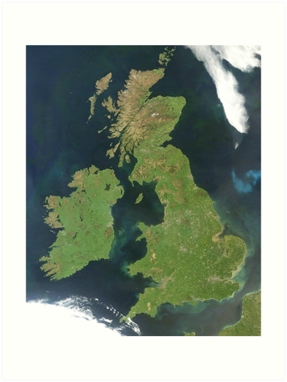 A map from space of the British Isles.\