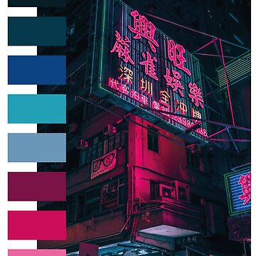 Cyberpunk Aesthetics Tokyo Neon Sign Color Palette by gregGgggg