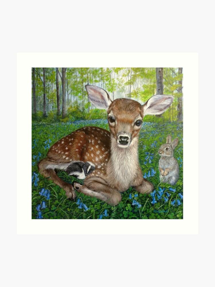 Forest Friends - Bambi , Thumper, and Flower   Art Print