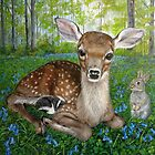 Forest Friends - Bambi , Thumper, and Flower by Ruth Ann Ventrello