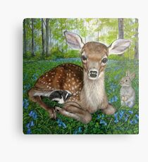 Forest Friends - Bambi , Thumper, and Flower Metal Print