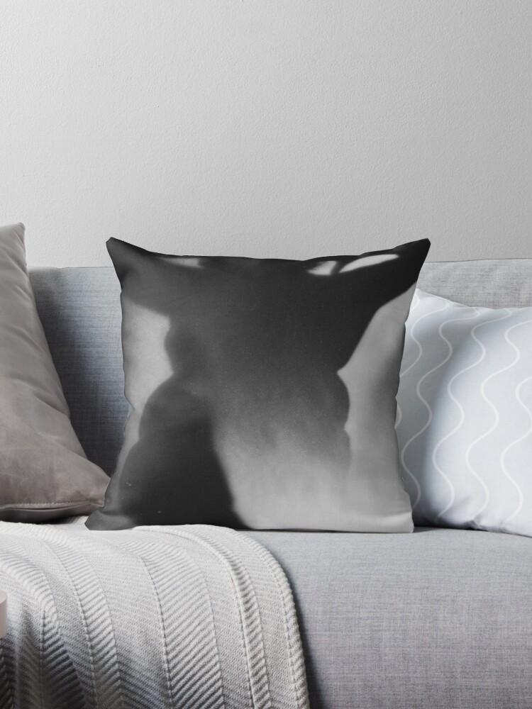 Surrealist Silhouette Of Fat Woman Black And White Film Silver Gelatin Analog Photographic Studio Portrait Photo Throw Pillow By Edwardolive Redbubble