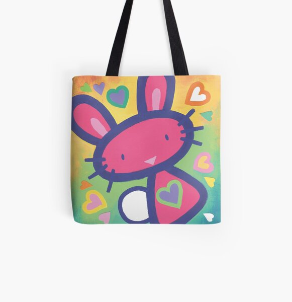 Raspberry Love Bunny All Over Print Tote Bag
