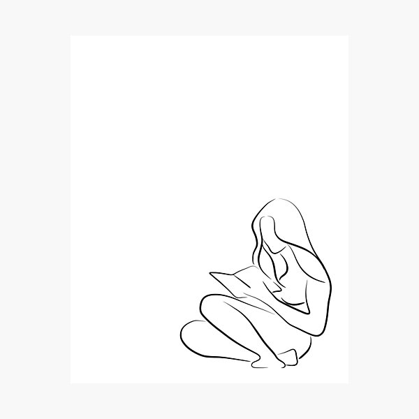 A Woman Reading Line Drawing - Reading Rita Photographic Print