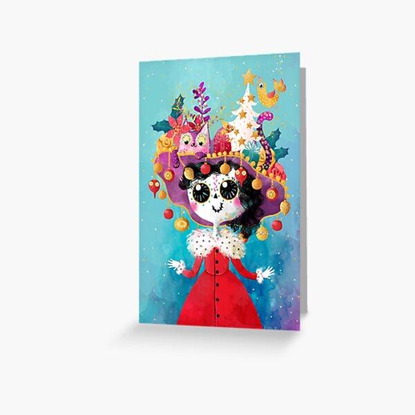 Marikita - the Christmas Crazy Cat Lady Greeting Card