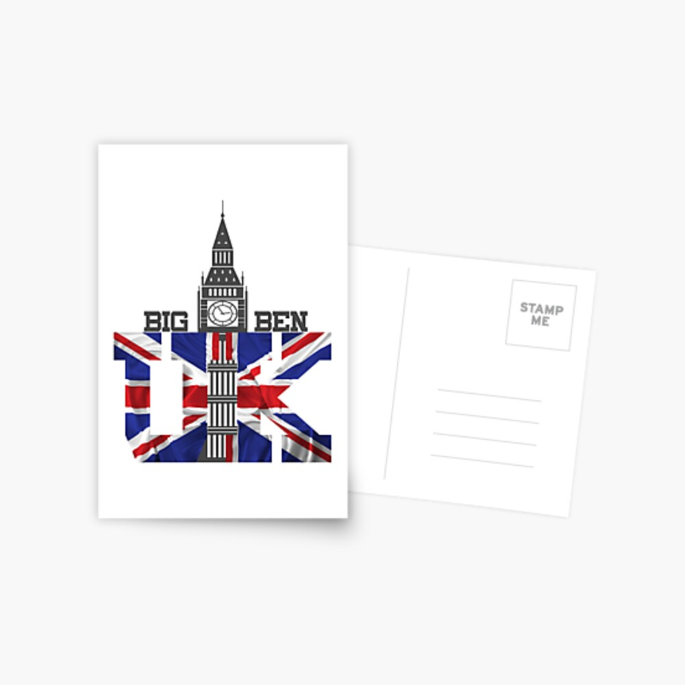 The UK Bin Ben United Kingdom London Cities England Flag Novelty Gifts. Postcard