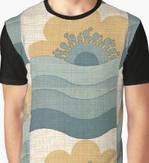 Vintage Wallpaper Retro Sun Flower Waves Pattern Graphic T-Shirt