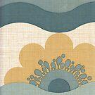 Vintage Wallpaper Retro Sun Flower Waves Pattern by vintagegoodness