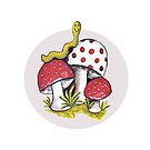 Vintage Magic Mushrooms w/ Worm Retro Design by vintagegoodness