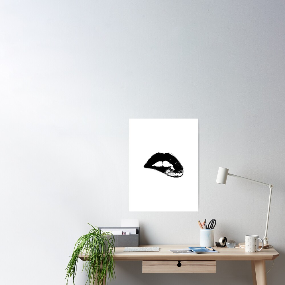 Black and White Lips Wall Decor Poster