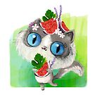 Cute big eyed cat with figs by colonelle