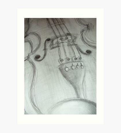 violin pencil sketch © 2009 patricia vannucci Art Print