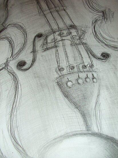 violin pencil sketch © 2009 patricia vannucci by PERUGINA