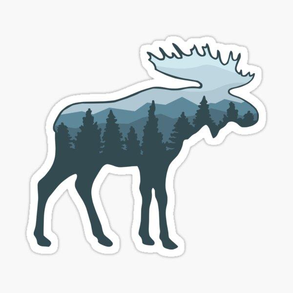 Moose roaming the wilderness Sticker