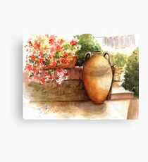Flowered Courtyard - La Romita, Italy Canvas Print