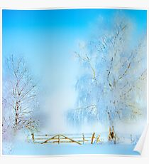 """Winter Landscape  """"Trees with fence"""" Poster"""