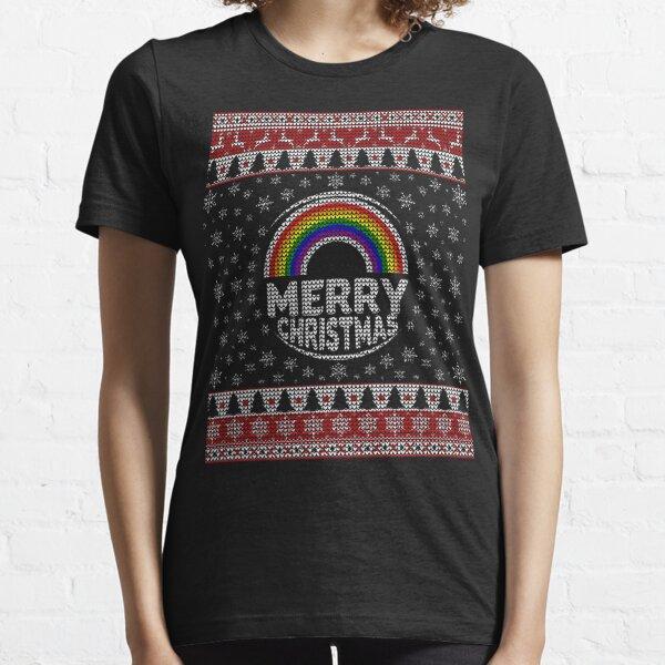 Gay LGBT Ugly Christmas Sweater Rainbow Merry Christmas Essential T-Shirt