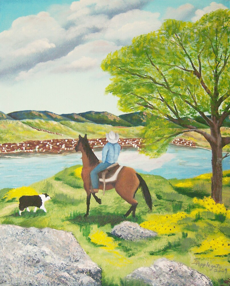 Out of the WEST ~ Australian Shepherd ~ Oil Painting by Barbara Applegate