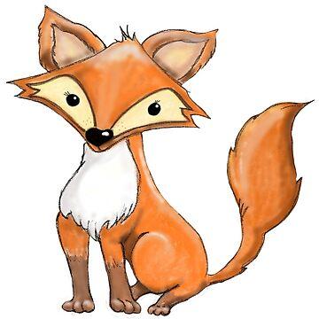 Cute lil Fox - watercolour and digital art by Hummingbirdnz