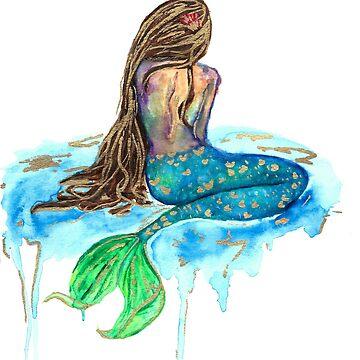 Watercolor Mermaid by calyla
