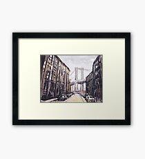 Watercolor painting of  Brooklyn Bridge- New York City, NY (USA) Framed Print