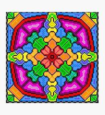 8-bit Floral Kaleidoscope Photographic Print