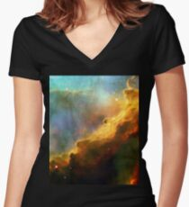 Space storm Messier 17 Women's Fitted V-Neck T-Shirt
