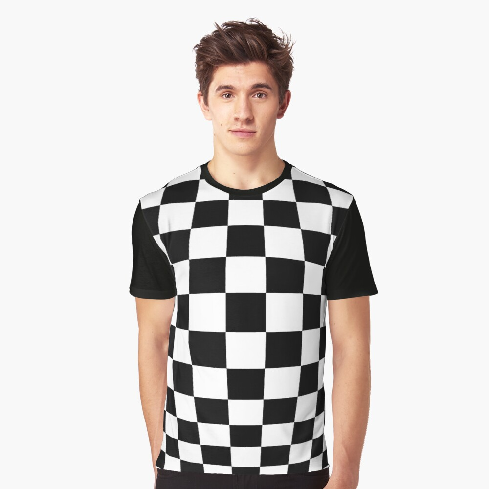 #black, #white, #chess, #checkered, #pattern, #flag, #board, #abstract, #chessboard, #checker, #square Graphic T-Shirt