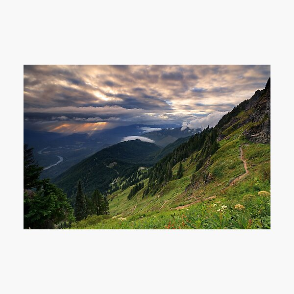 Sunset through rain clouds from Sauk Mountain, Washington Photographic Print