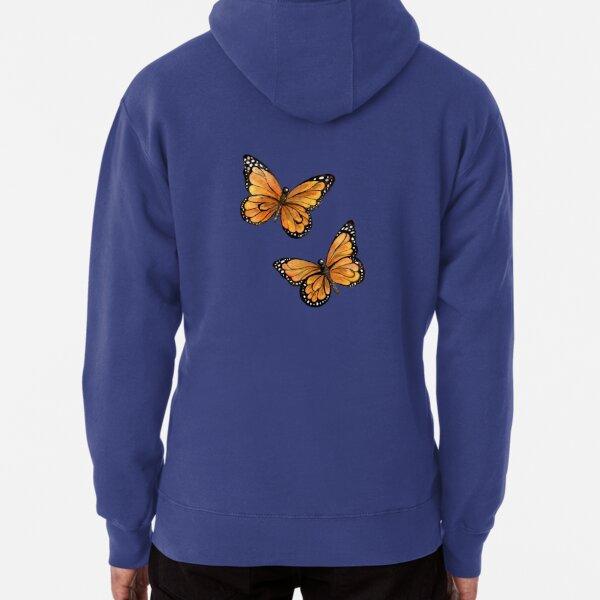 Two Orange Monarch Butterflies Art Print Pullover Hoodie