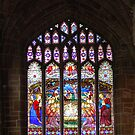 One of the Stained Glass windows at chester cathedral  by karen Bradshaw