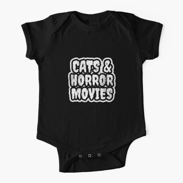Cats and Horror Movies - Horror fan gift Short Sleeve Baby One-Piece
