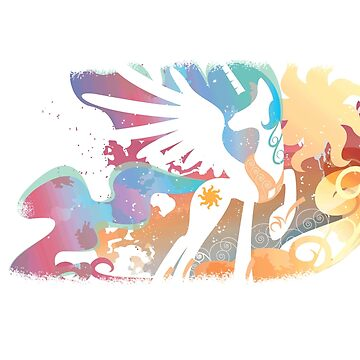 My Little Pony - Colorful Abstract Princess Celestia Silhouette by Obtineo