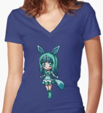 Glaceon Magical Girl Chibi Women's Fitted V-Neck T-Shirt
