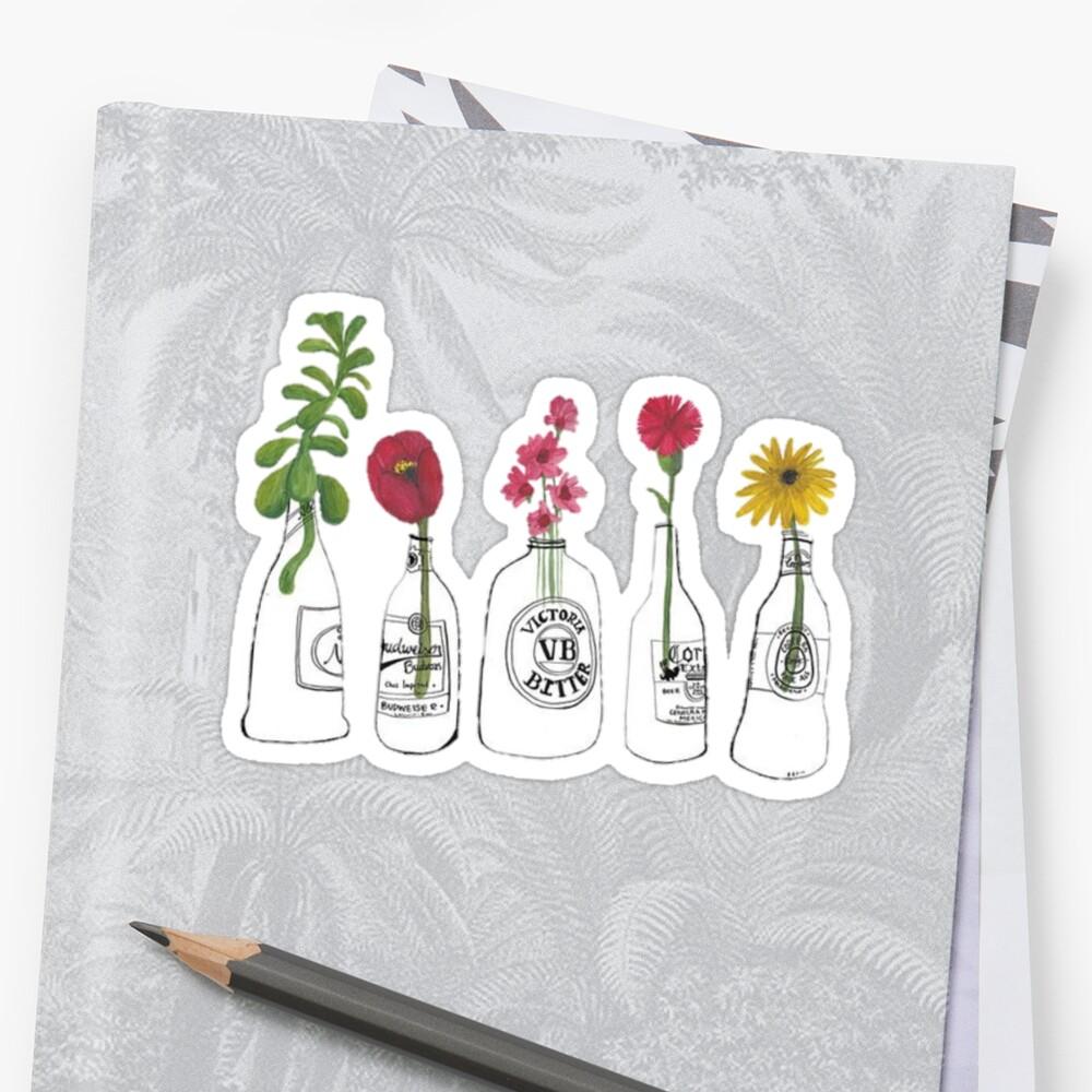 Blumen in Flaschen Sticker