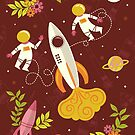 Race to the Moon with Florals in Maroon by latheandquill