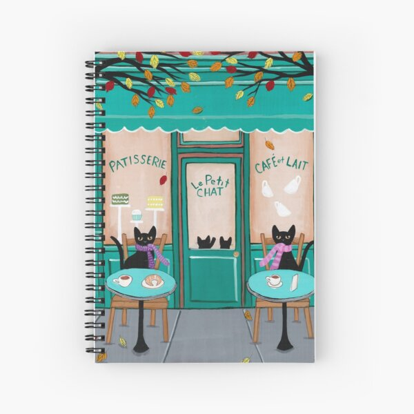 Le Petit Chat Cafe Spiral Notebook