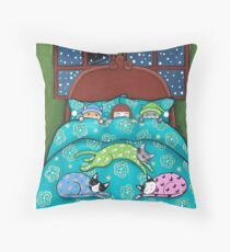 Bedtime With Cats Throw Pillow