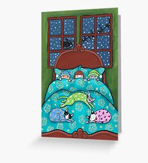 Bedtime With Cats Greeting Card