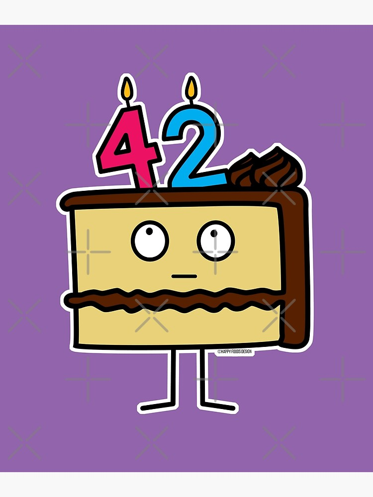 Sensational 42Nd Birthday Cake With Candles Icing Dessert 42 Greeting Card By Funny Birthday Cards Online Fluifree Goldxyz