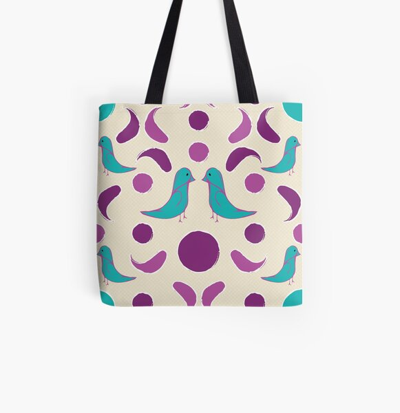 Fiesta Folk Two Little Birdies having a chat All Over Print Tote Bag