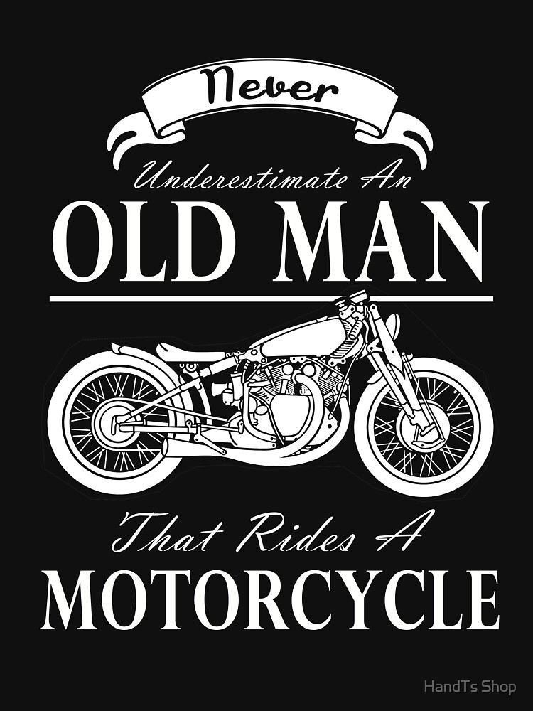 DUCATI  Never Underestimate an Old Man Mens White T Shirt Motorcycle Black shirt