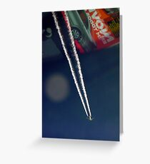 Contrails at 35,000 feet over car magazine..... Greeting Card
