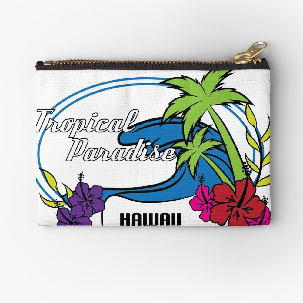 Fresh Hawaiian Style Tshirt Design Tropical paradise Zipper Pouch