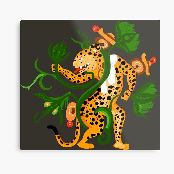Mayan jaguar playing with a waterlily Metal Print