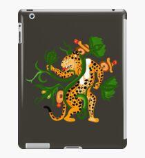 Mayan jaguar playing with a waterlily iPad Case/Skin