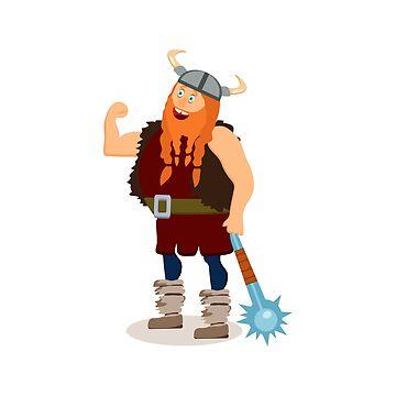Red beard fat viking with mace. by TrishaMcmillan