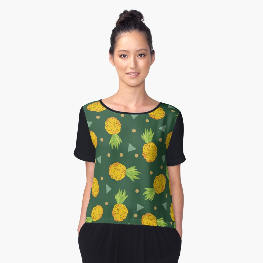 Pineapple plantation bright sunny background. Women's Chiffon Top Front